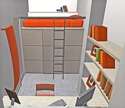 Camera di 6 mq, Vista letto pensile con cabina armadio sottostante