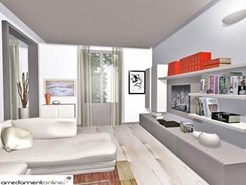 Soggiorno e cucina in un appartamento affacciato sul verde for Divano con penisola ikea