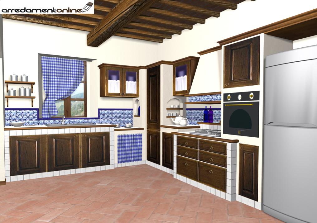 Cucina in muratura o in falsa muratura - Cucina senza piastrelle ...